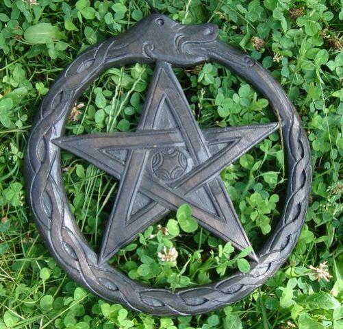 Schlangen-Pentagramm aus Holz (Wandschmuck)